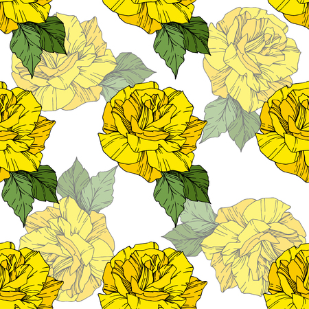 Beautiful vector rose. Floral botanical flower. Wild spring leaf. Yellowl color engraved ink art. Seamless background pattern. Fabric wallpaper print texture.