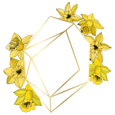 Vector Narcissus. Floral botanical flower. Yellow engraved ink art. Frame border ornament square on white background polyhedron mosaic shape.