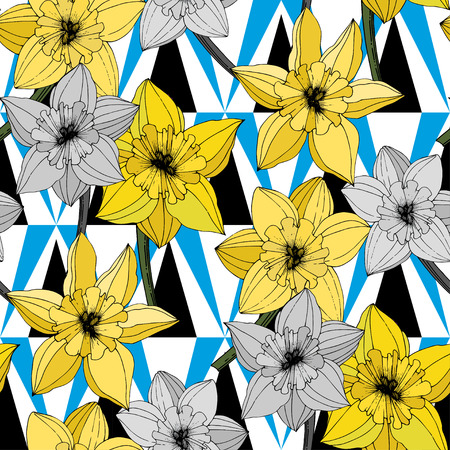 Vector Narcissus. Floral botanical flower. Yellow engraved ink art. Seamless background pattern. Fabric wallpaper print texture on white background.