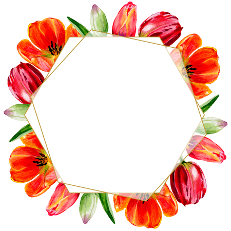 Amazing red tulip flower with green leaf. Hand drawn botanical flower. Watercolor background illustration set. Frame border ornament crystal. Geometric quartz polygon crystal stone. Stockfoto - 113292945