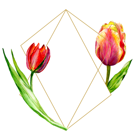 Amazing red tulip flower with green leaf. Hand drawn botanical flower. Watercolor background illustration set. Frame border ornament crystal. Geometric quartz polygon crystal stone. Stock Photo