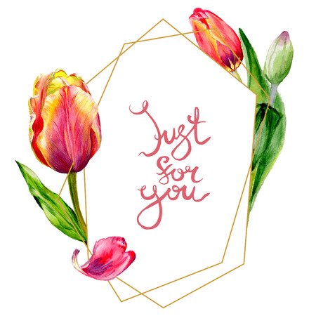 Amazing red tulip flower with green leaf. Just for you handwriting monogram calligraphy. Watercolor background illustration set. Frame crystal. Geometric shape.