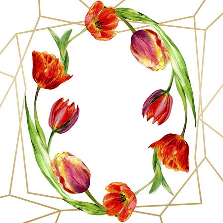 Amazing red tulip flower with green leaf. Hand drawn botanical flower. Watercolor background illustration set. Frame border ornament round. Geometric quartz polygon crystal stone.