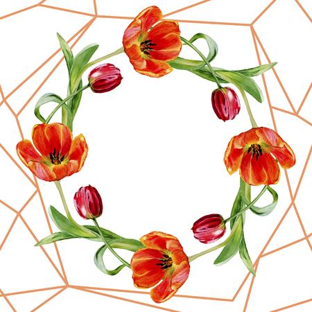 Amazing red tulip flower with green leaf. Hand drawn botanical flower. Watercolor background illustration set. Frame border ornament wreath. Geometric quartz polygon crystal stone.