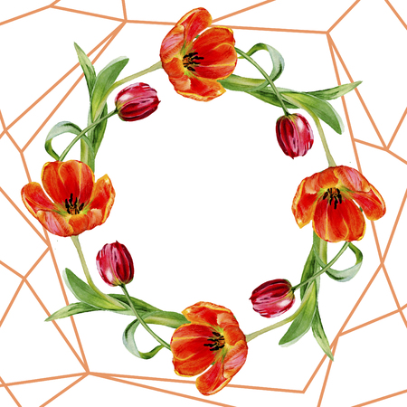 Amazing red tulip flower with green leaf. Hand drawn botanical flower. Watercolor background illustration set. Frame border ornament wreath. Geometric quartz polygon crystal stone.