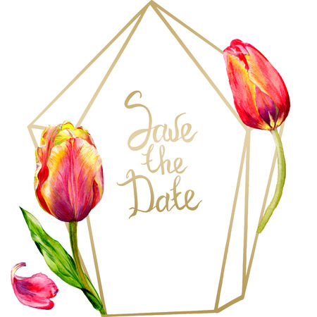 Amazing red tulip flower with green leaf. Save the date handwriting monogram calligraphy. Watercolor background illustration set. Frame crystal. Geometric shape.