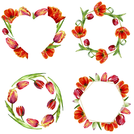 Amazing red tulip flower with green leaf. Hand drawn botanical flower. Watercolor background illustration set. Frame border ornament wreath, heart and gold crystal.
