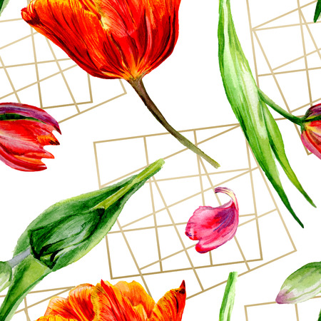 Amazing red tulip flower with green leaf. Hand drawn botanical flower. Watercolor background illustration set. Seamless background pattern. Fabric wallpaper print texture. Stockfoto