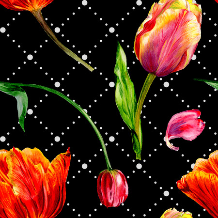 Amazing red tulip flower with green leaf. Hand drawn botanical flower. Watercolor background illustration set. Seamless background pattern. Fabric wallpaper print texture. Stock Photo