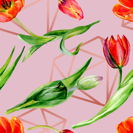 Amazing red tulip flower with green leaf. Hand drawn botanical flower. Watercolor background illustration set. Seamless background pattern. Fabric wallpaper print texture. Stok Fotoğraf