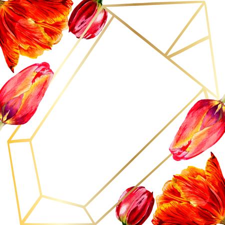 Amazing red tulip flower with green leaf. Hand drawn botanical flower. Watercolor background illustration set. Frame border ornament crystal. Geometric quartz polygon crystal stone. 스톡 콘텐츠