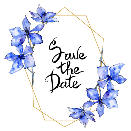 Purple orchid flower. Save the Date handwriting monogram calligraphy. Watercolor background. Golden polygonal frame. Geometric polyhedron crystal shape. Stockfoto - 113293017