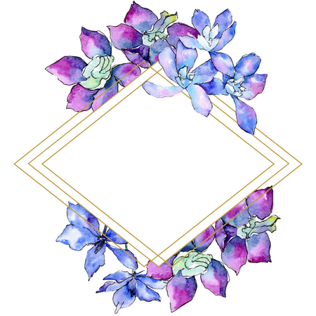 Purple orchid flower. Watercolor background illustration set. Frame border ornament rhombus. Geometric polyhedron crystal mosaic shape. Фото со стока
