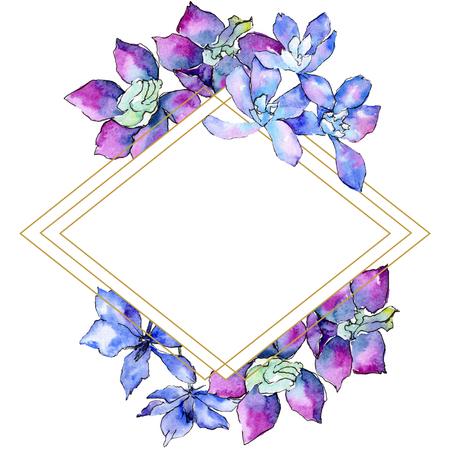 Purple orchid flower. Watercolor background illustration set. Frame border ornament rhombus. Geometric polyhedron crystal mosaic shape. Stock Photo