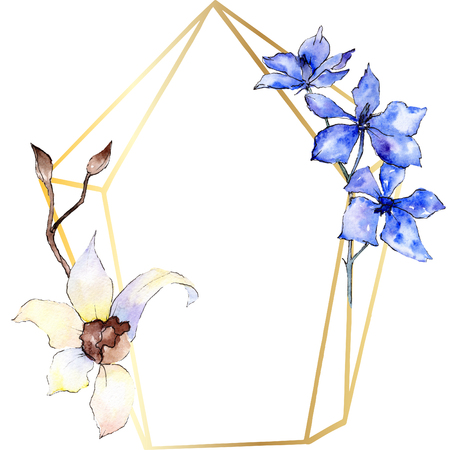 Purple and white orchid flower. Floral botanical flower. Watercolor background illustration set. Golden  polygonal frame with flowers. Geometric polyhedron crystal shape.
