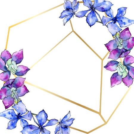 Purple orchid flower. Floral botanical flower. Watercolor background illustration set. Golden  polygonal frame with flowers. Geometric polyhedron crystal shape.