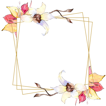 Yellow and white orchid flower. Watercolor background illustration set. Golden square polygonal frame with flowers. Geometric polyhedron crystal shape. Stockfoto