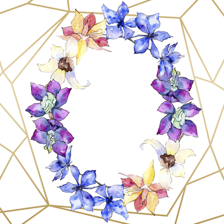 Purple, yellow and white orchid flower. Floral botanical flower. Watercolor background illustration set. Golden  polygonal frame with flowers. Geometric polyhedron crystal shape.