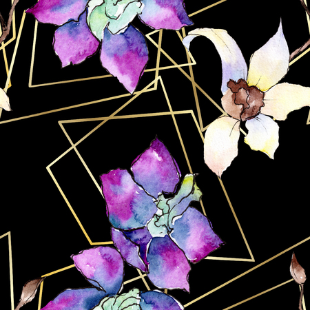 Purple and white orchid flower. Seamless background pattern. Fabric wallpaper print texture. Watercolor background illustration set. Geometric polyhedron crystal mosaic shape. 스톡 콘텐츠