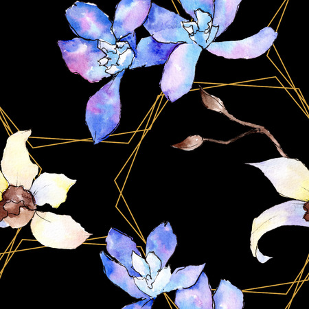 Purple and white orchid flower. Floral botanical flower. Seamless background pattern. Fabric wallpaper print texture. Watercolor background illustration set. Stockfoto