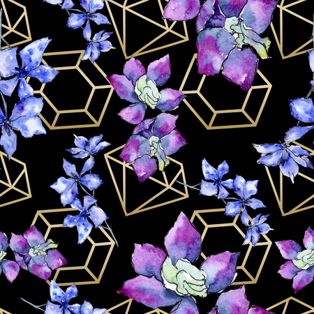 Purple orchid flower. Floral botanical flower. Seamless background pattern. Fabric wallpaper print texture. Watercolor background illustration set. Geometric polyhedron crystal  mosaic shape.