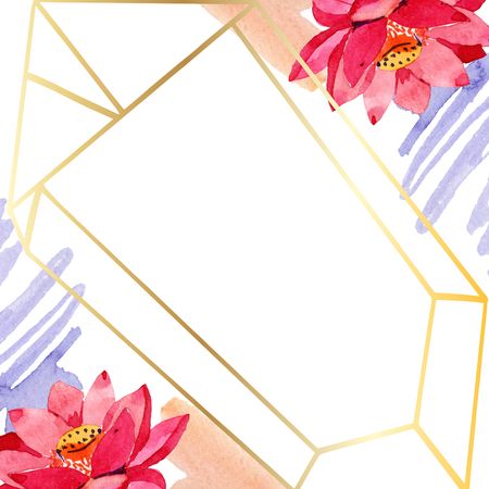 Red lotus. Floral botanical flower. Watercolor background illustration set. Frame border golden crystal. Hand drawn in aquarell. Geometric polygon mosaic shape.