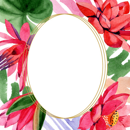 Red lotus. Floral botanical flower. Watercolor background illustration set. Frame border golden round. Hand drawn in aquarell.