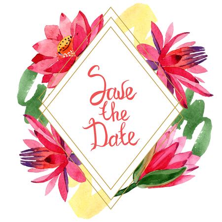 Red lotus flower. Save the Date handwriting monogram calligraphy. Watercolor background illustration set. Frame border golden rhombusl. Geometric polygon crystal shape.