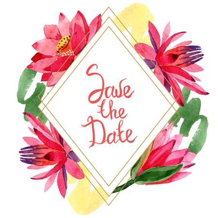 Red lotus flower. Save the Date handwriting monogram calligraphy. Watercolor background illustration set. Frame border golden rhombusl. Geometric polygon crystal shape.