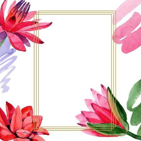 Red lotus. Floral botanical flower. Watercolor background illustration set. Frame border golden squarel. Hand drawn in aquarell. Geometric polygon mosaic shape.