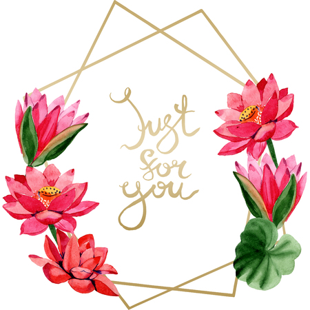 Red lotus flower. Just for you handwriting monogram calligraphy. Watercolor background illustration set.  Frame golden crystall polygon shape. Hand drawn in aquarell.