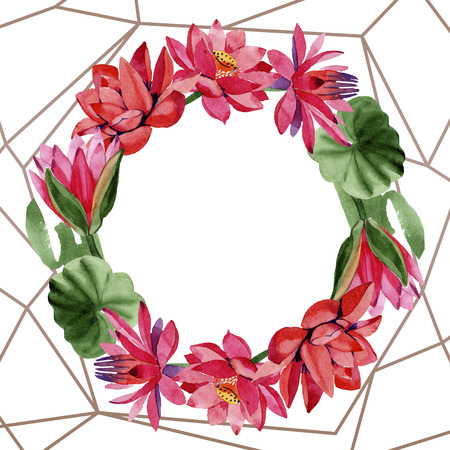 Red lotus. Floral botanical flower. Watercolor background illustration set. Frame border ornament wreath. Hand drawn in aquarell. Geometric polygon golden crystal mosaic shape.