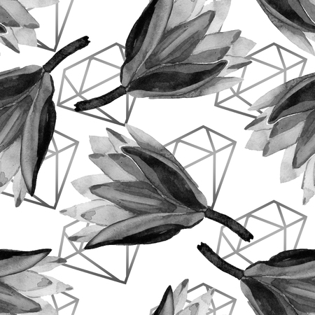 Black lotus. Floral botanical flower. Watercolor background illustration set. Seamless background pattern. Fabric wallpaper print texture.