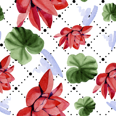 Red lotus. Floral botanical flower. Watercolor background illustration set. Seamless background pattern. Fabric wallpaper print texture.