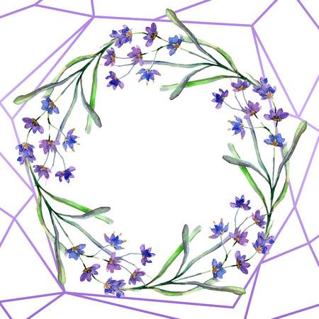 Purple lavender. Floral botanical flower. Watercolor background illustration set. Wreath and crystal frame. Crystal stone polyhedron mosaic shape amethyst gem.