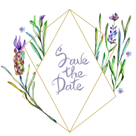 Purple lavenderl flowers. Save the date handwriting monogram calligraphy. Watercolor background. Frame border ornament. Gold crystal stone polyhedron mosaic shape amethyst gem. Stock Photo