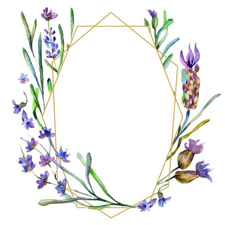 Purple lavender. Floral botanical flower. Watercolor background illustration set. Frame border ornament. Gold crystal stone polyhedron mosaic shape amethyst gem. Stockfoto - 113293247