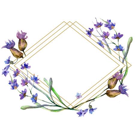 Purple lavender. Floral botanical flower. Watercolor background illustration set. Rhombus frame. Gold crystal stone polyhedron mosaic shape amethyst gem.