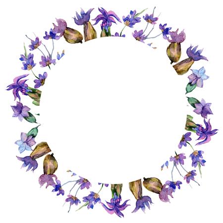 Purple lavender. Floral botanical flower. Wild spring leaf. Watercolor background illustration set. Wreath frame border. Stok Fotoğraf