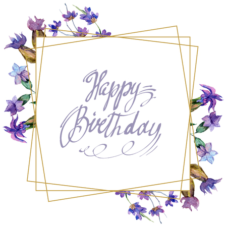 Purple lavender flowers. Happy birtday handwriting monogram calligraphy. Watercolor background. Frame border ornament. Gold crystal stone polyhedron mosaic shape amethyst gem.