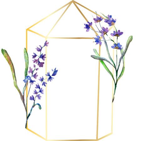 Purple lavender. Floral botanical flower. Watercolor background illustration set. Frame border ornament. Gold crystal stone polyhedron mosaic shape amethyst gem.