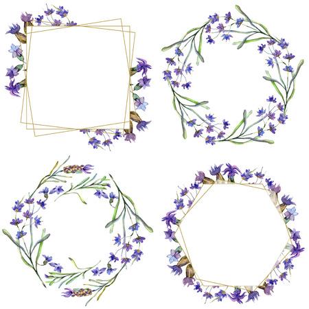 Purple lavender. Floral botanical flower. Wild spring leaf. Watercolor background illustration set. Frame border ornament square, round, wreath and gold crystal.