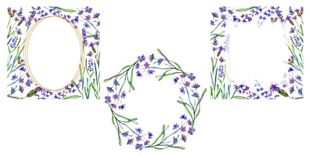 Purple lavender flowers. Floral botanical flower. Wild spring leaf. Watercolor background illustration set. Frame border ornament square, round and wreath. Stockfoto
