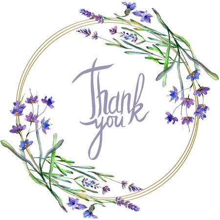 Purple lavender. Floral botanical flower. Thank you handwriting monogram calligraphy. Wild spring leaf. Watercolor background illustration set. Round frame border.