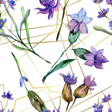 Purple lavender. Floral botanical flower. Watercolor seamless background pattern. Fabric wallpaper print texture. Gold crystal stone polyhedron mosaic shape amethyst gem. Stockfoto