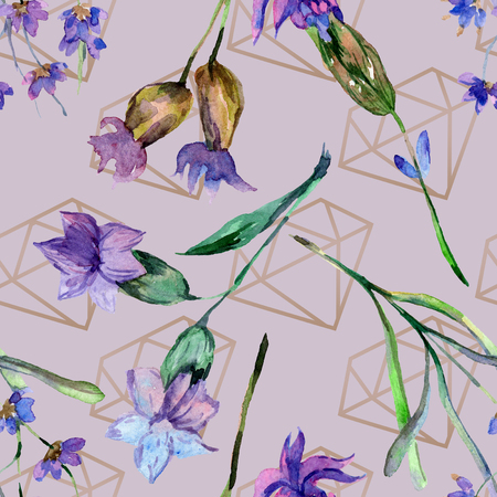 Purple lavender. Floral botanical flower. Watercolor seamless background pattern. Fabric wallpaper print texture. Gold crystal stone polyhedron mosaic shape amethyst gem. 스톡 콘텐츠