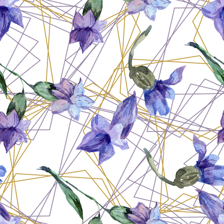 Purple lavender. Floral botanical flower. Watercolor seamless background pattern. Fabric wallpaper print texture. Gold crystal stone polyhedron mosaic shape amethyst gem. Stock Photo