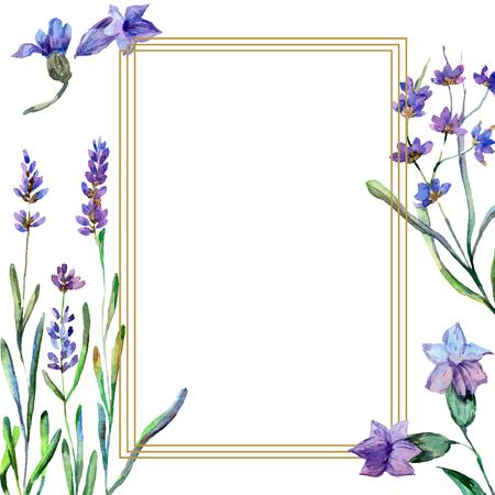 Purple lavender. Floral botanical flower. Watercolor background illustration set. Frame square. Gold crystal stone polyhedron mosaic shape amethyst gem. 스톡 콘텐츠