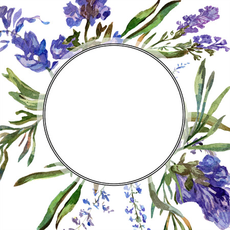 Purple lavender. Floral botanical flower. Wild spring leaf. Watercolor background illustration set. Round frame border.