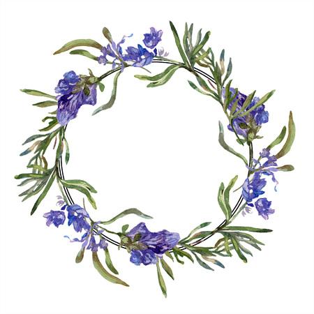 Purple lavender. Floral botanical flower. Wild spring leaf. Watercolor background illustration set. Wreath frame border. Stock fotó